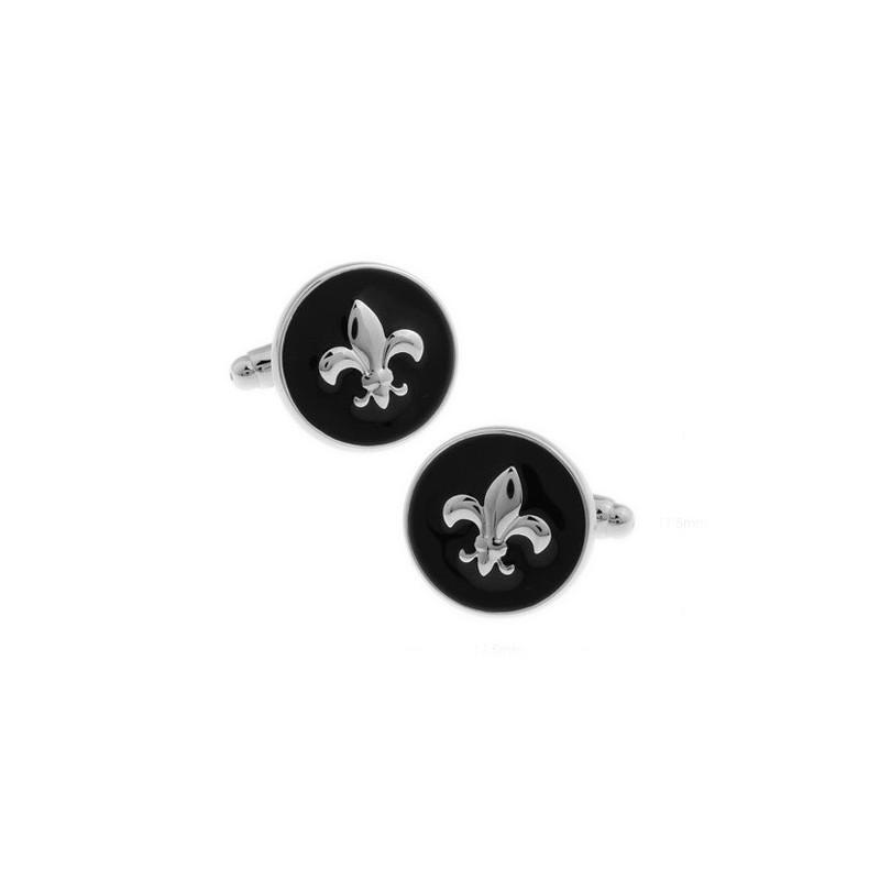 Gemelos clasicos redondo con flor de lis esmaltado negro