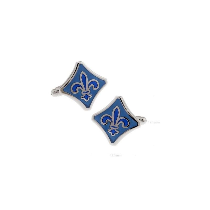 Gemelos clasicos con flor de lis esmaltado azul