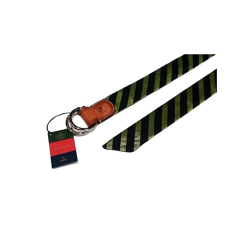 Cinturón Leyva textil y cuero marino y verde
