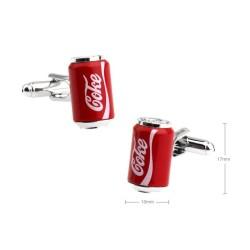 Gemelos con forma de lata de coca cola