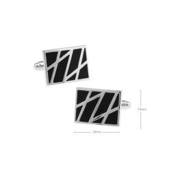 Gemelos clasicos cuadrados esmaltado negro
