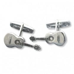 Gemelos de plata con forma de guitarra