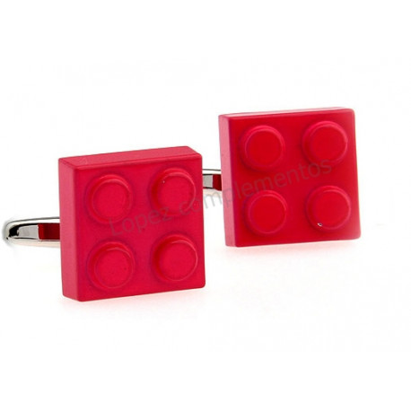 Gemelos con forma de pieza de lego fresa