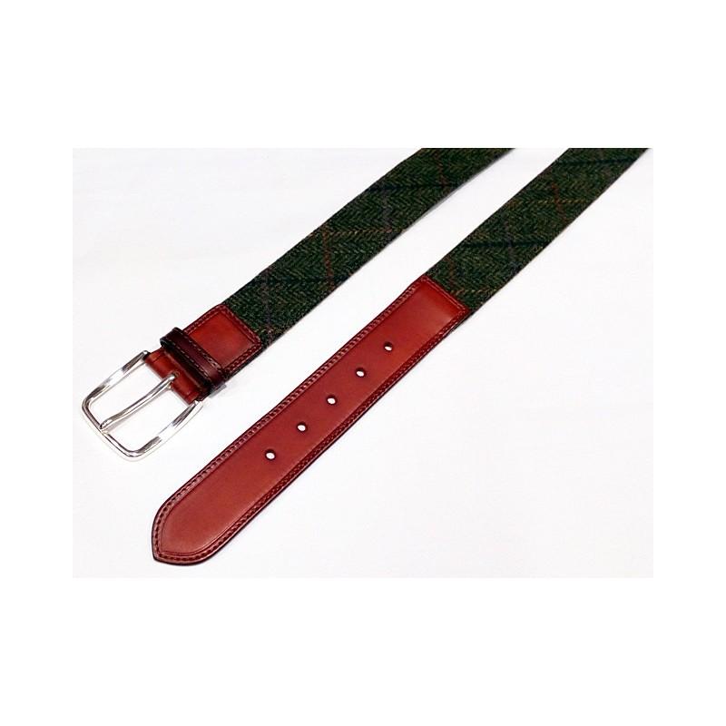 Cinturón Leyva textil verde y cuero