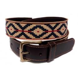 Cinturon argentino guarda pampa beig-marino-rojo
