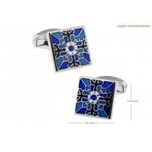 Gemelos clasicos mosaico azul