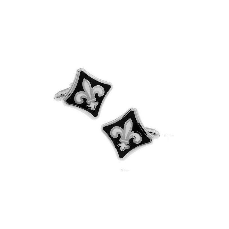 Gemelos clasicos con flor de lis esmaltado negro