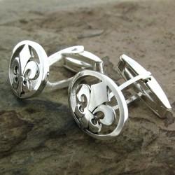 Gemelos de plata con flor de lis