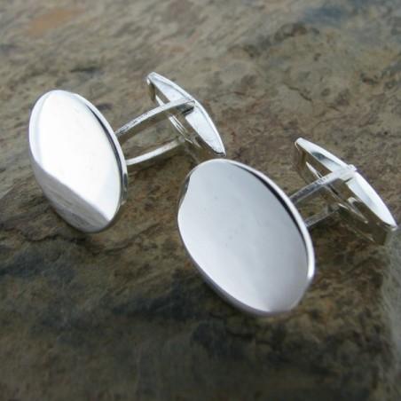 Gemelos de plata liso oval