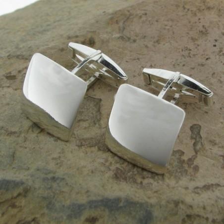 Gemelos de plata liso cuadrado