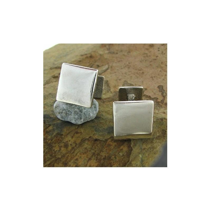 Gemelos de plata cuadrado rígido