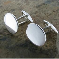 Gemelos de plata liso redondo