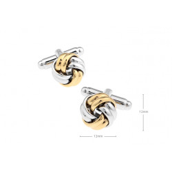 Gemelos clasicos de nudos dorados y platedos
