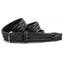 Cinturon de cuero trenzado negro