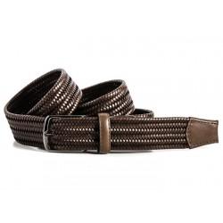 Cinturon trenzado de cuero marrón