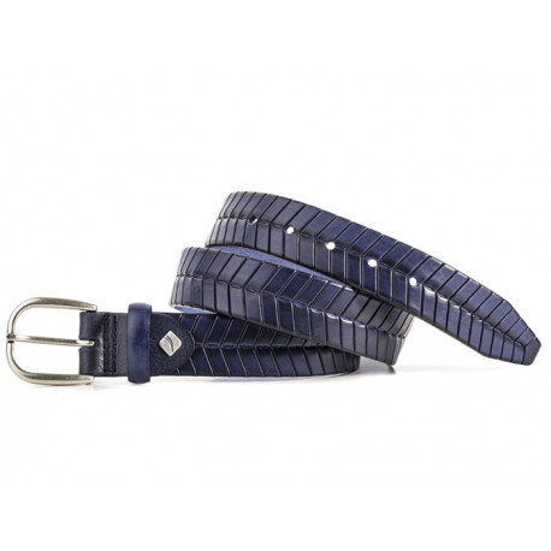 Cinturon de cuero grabado azul