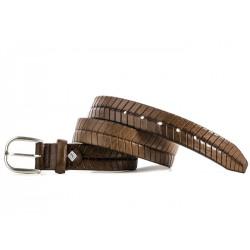 Cinturon de cuero grabado marron