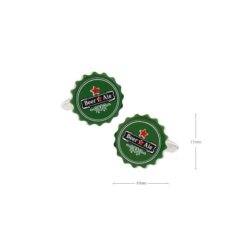 Gemelos con forma de chapa cerveza