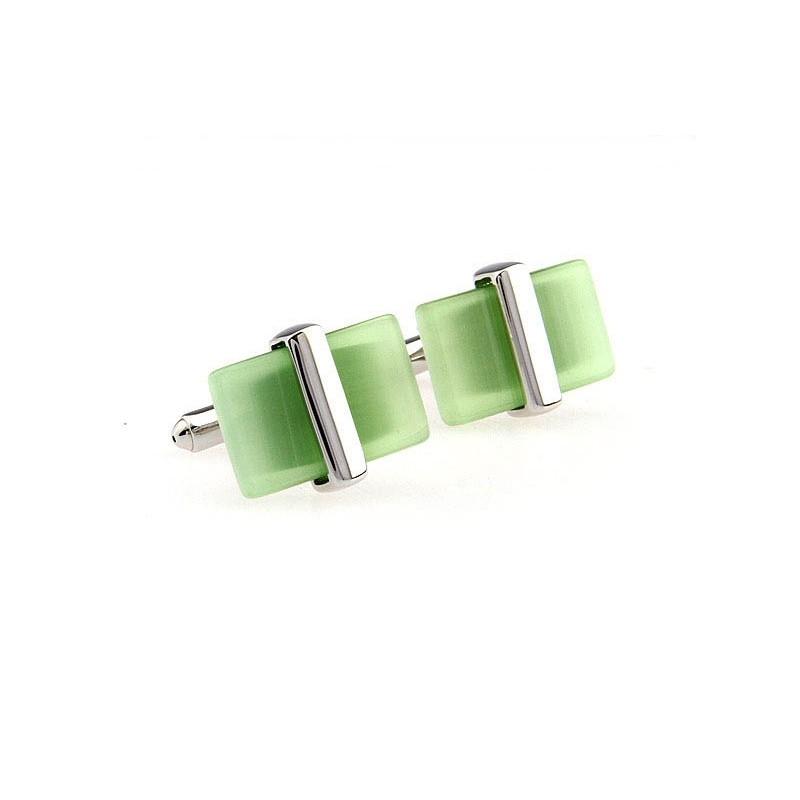 Gemelos clasicos con piedra verde