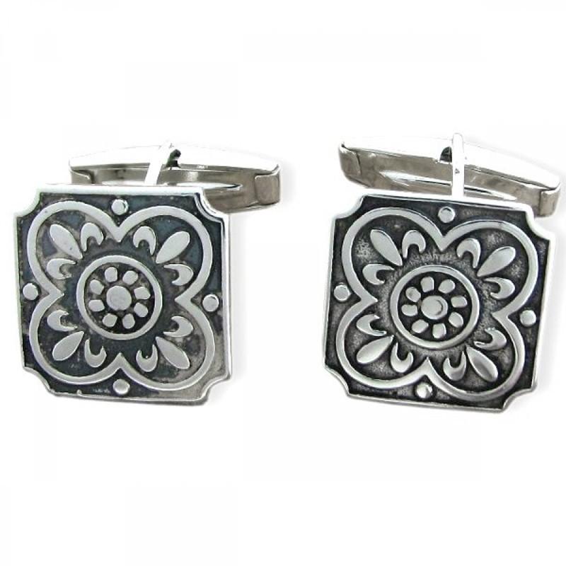 Gemelos de plata con forma de azulejo