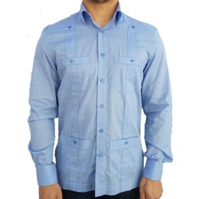 Camisa cubana - Guayabera - celeste