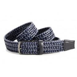 Cinturon trenzado de cuero marino y azul