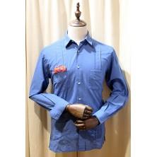 Camisa cubana - Guayabera - color azulón