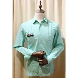Camisa cubana - Guayabera - color verde aguaazulón