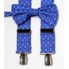 Tirantes y pajarita con geométricos fondo azul